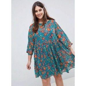 ASOS teal blue floral babydoll dress sheer mini